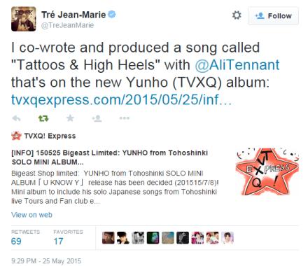 150525 co-writer on twitter on Yunho's mini album