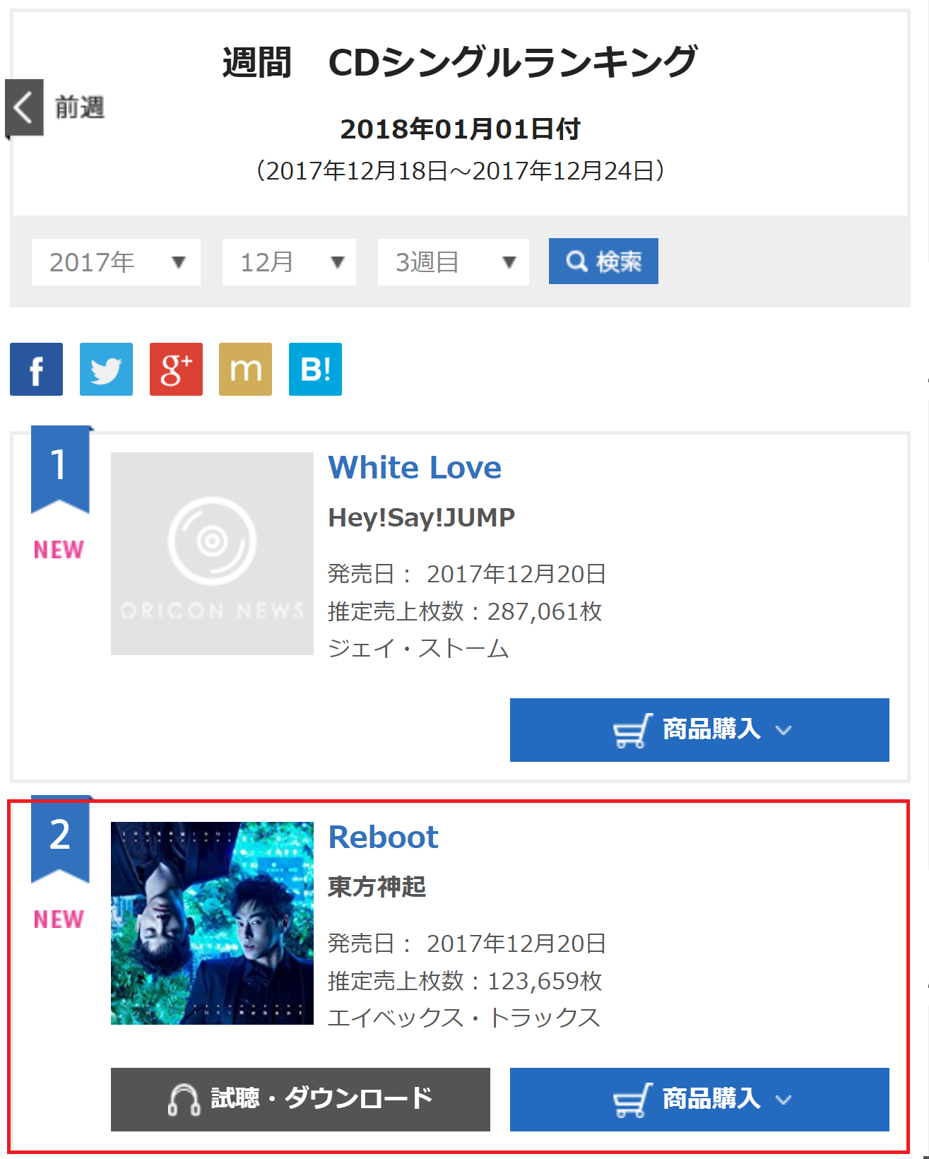 INFO] 171227 Oricon Weekly Singles for 1/1 (171218-24): No 2