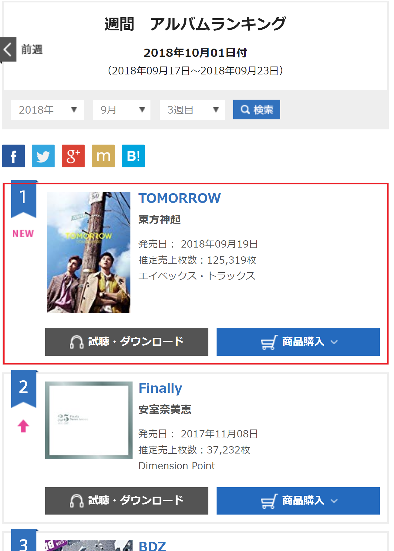 INFO] 180926 Oricon Weekly Album for 10/1 (180917-23): No 1